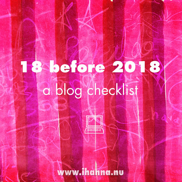 A Blog Checklist: 18 before 2018