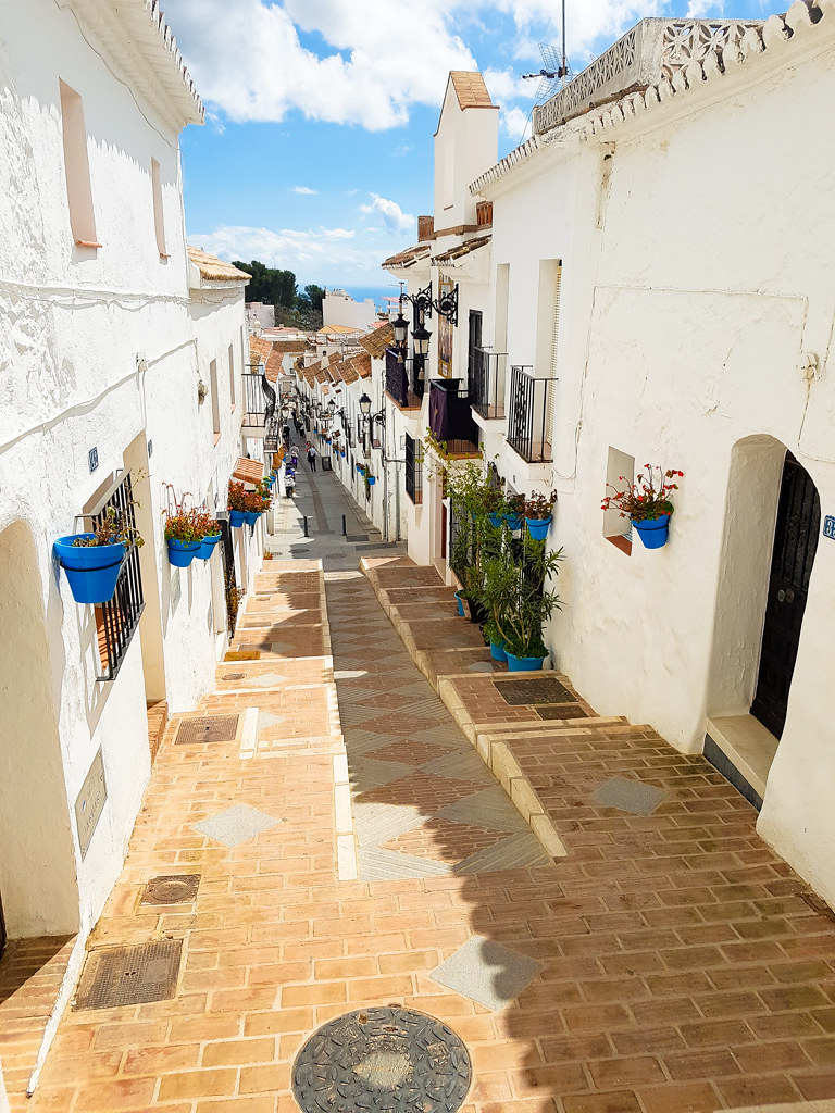Street going uphill in Mijas Pueblo