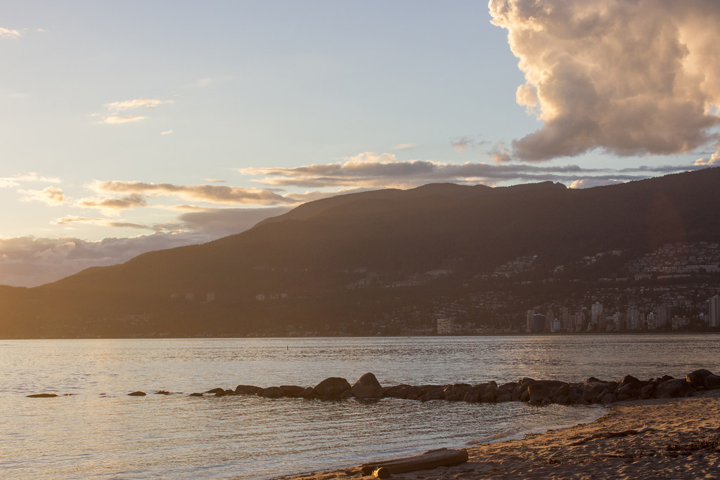 Golden sunset at Third Beach, Stanley Park
