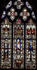 east window: composite figures of 14th, 15th and 19th Century glass