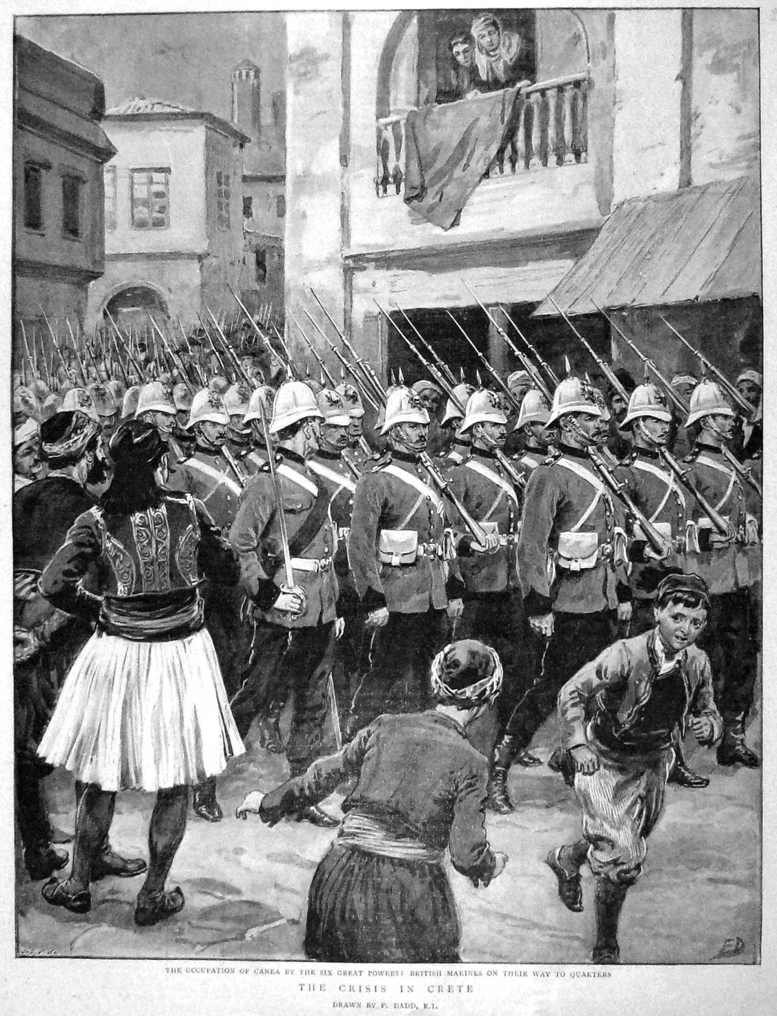 British Royal Marines parade in the streets of Chania in Crete following the occupation of the island by the Great Powers in spring 1897.