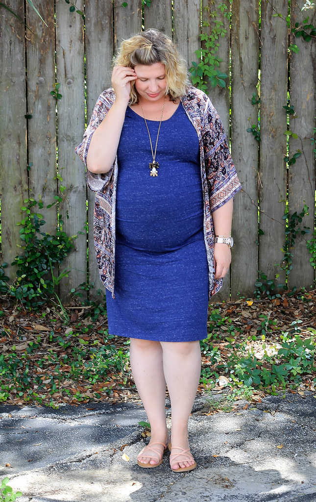 maternity blue dress, blue pattern kimono 3
