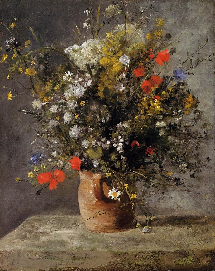 Flowers in a Vase by Pierre Auguste Renoir, 1866