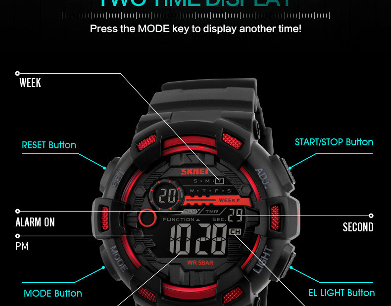 Buy SKMEI 1243 - Digital Sports Watch for Unisex - Black
