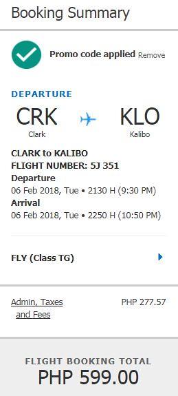 Clark to Kalibo Feb 6, 2018 Cebu Pacific Air Promo