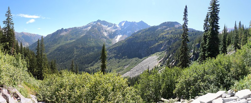 Dumbell Mountain (center, elevation 8421 feet) from the Cloudy Pass Trail west of Hart Lake with Crown Point Falls barely visible to the right of that scree field