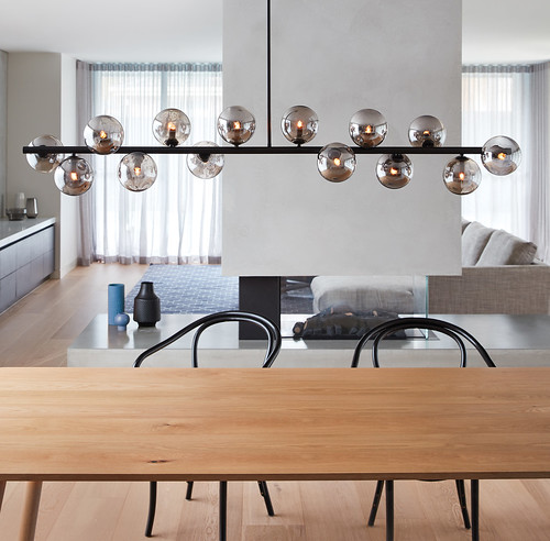 Modern pendants all rights reserved summer collection orion 14 light pendant in black smoke · by beacon lighting