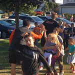Landon and Josh greeting runners (Sept 29, 2017)