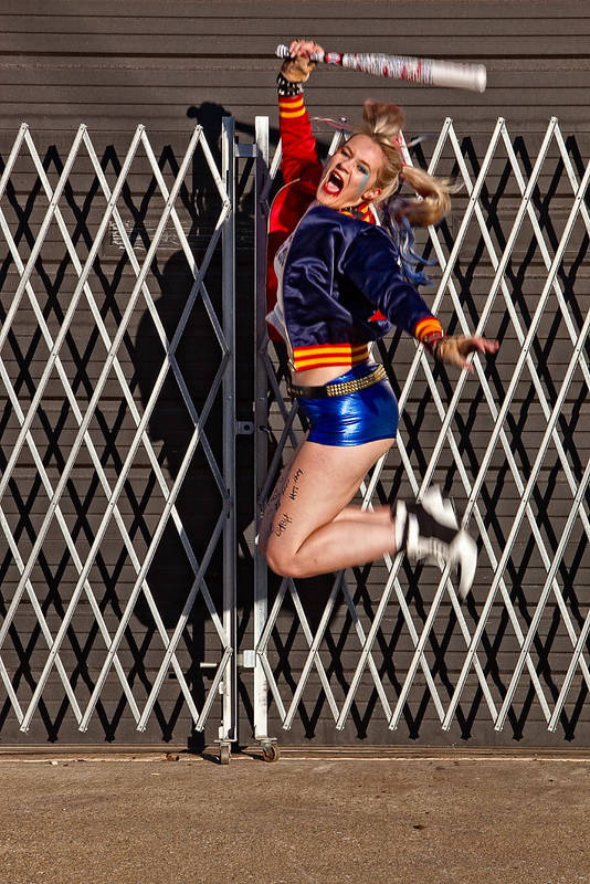 Harley Quinn jumping in the air