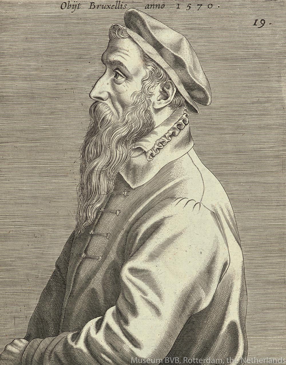 ヨハネス・ウィーリクス《ピーテル・ブリューゲル1世の肖像》(部分、1600年出版 エングレーヴィング)