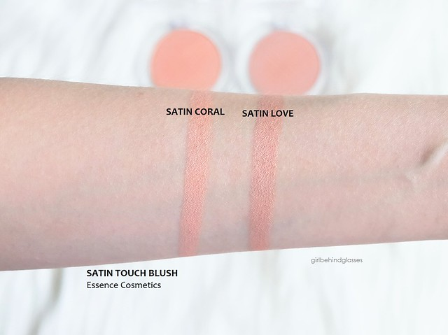 Essence Satin Touch Blush Satin Coral Satin Love swatches
