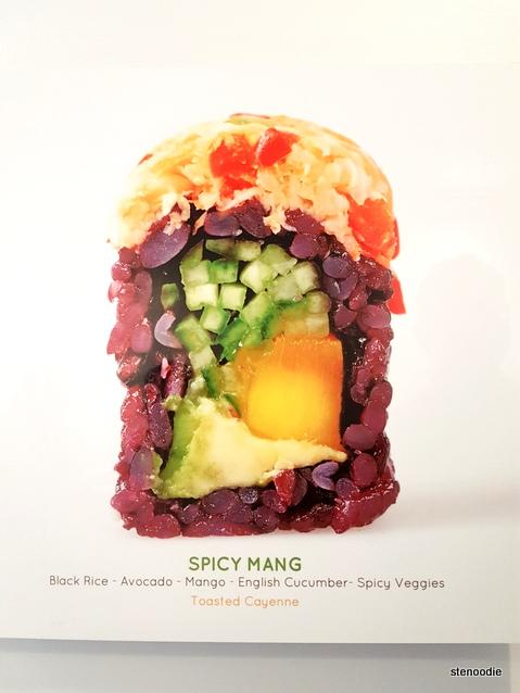 Spicy Mang vegan sushi