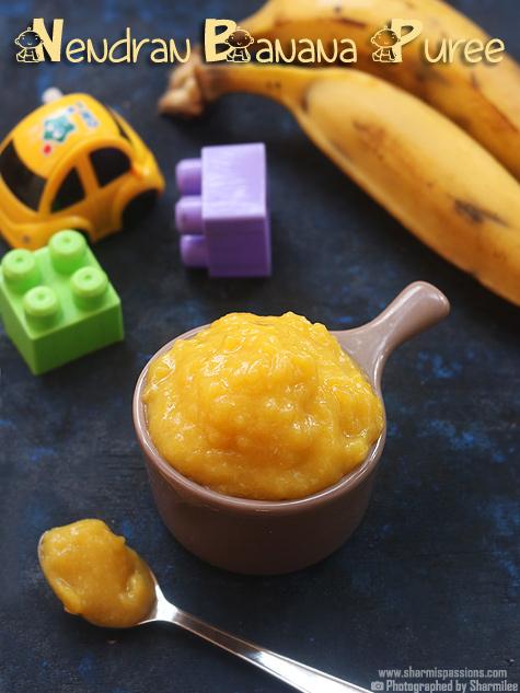 Steamed nendran banana puree for babies