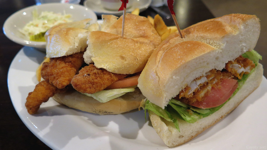 Fried filet of sole sandwich and fries