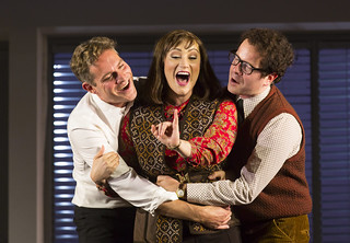 Mark Umbers, Eden Espinosa, and Damian Humbley in Merrily We Roll Along