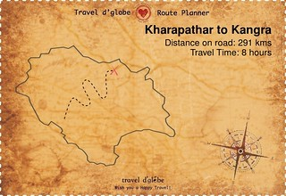 Map from Kharapathar to Kangra