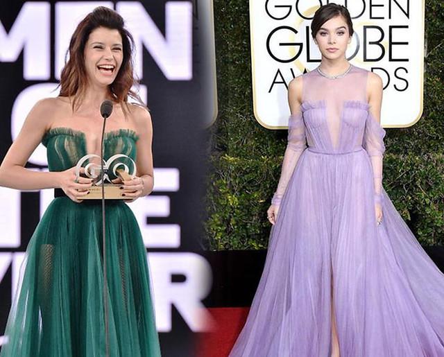 Beren Saat GQ 2016 Ödül töreninde giydiği Özgür Masur imzalı elbise de Hailee Steinfeld'in kıyafetine benzetilmişti