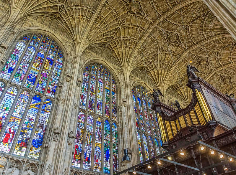 Interior of King's College Chapel, showing the fan ceiling. Credit Jean-Christophe Benoist