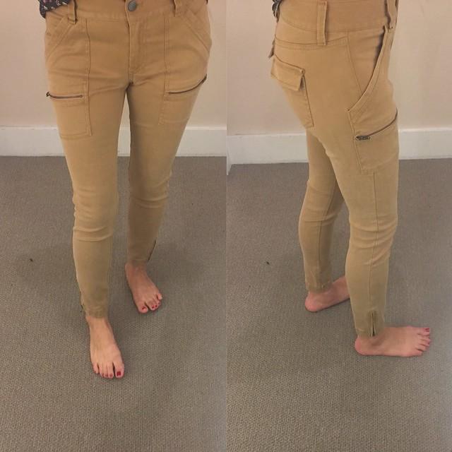 LOFT Skinny Utility Zip Pants in Marisa Fit in quicksand, size 2P