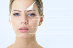 anti-aging concept, portrait of beautiful woman with problem and clean skin, aging and youth concept