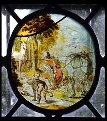 St Hubert's vision of the crucifixion between a stag's antlers