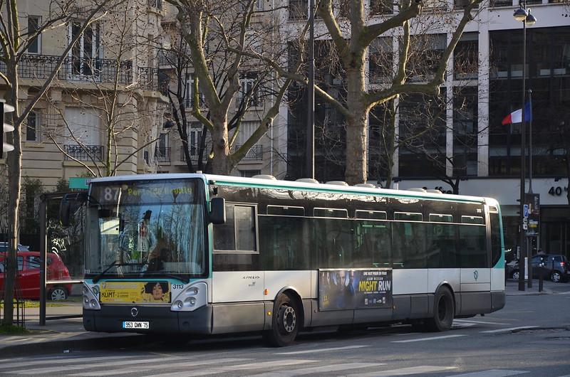 RATP Bus Route 87 in Paris, France