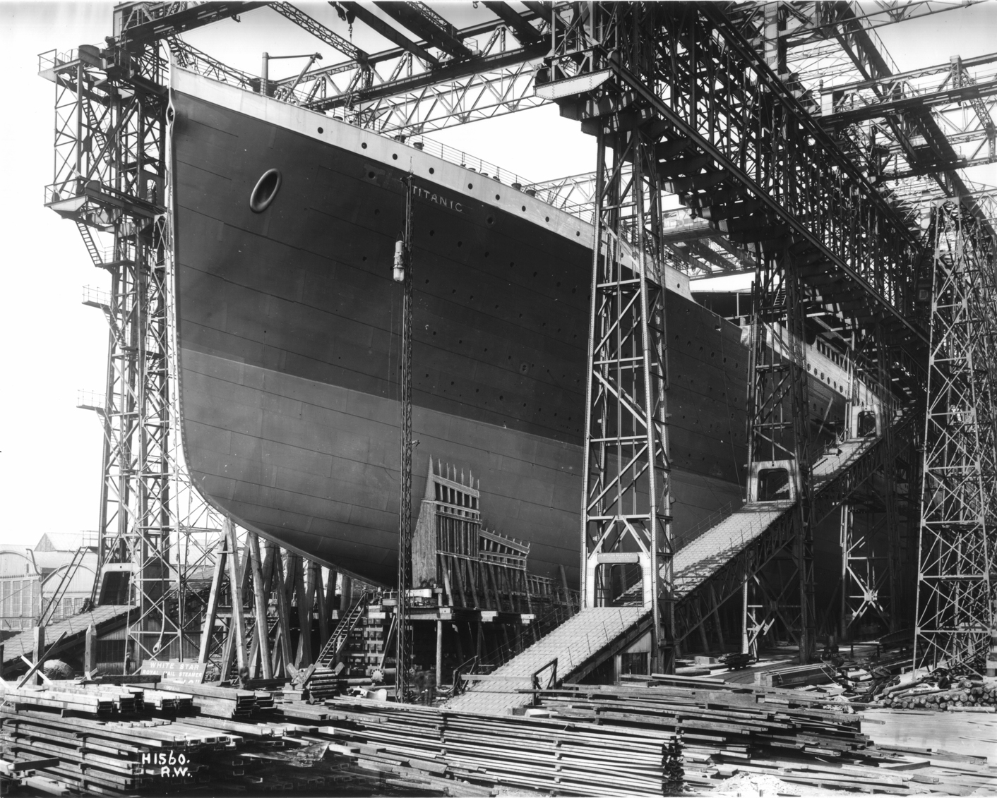Titanic ready for launch at Harland & Wolff, Belfast, 1911
