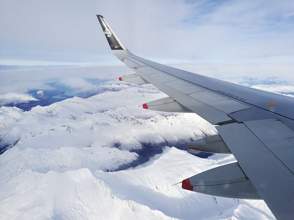 Snow-capped peaks from the wing