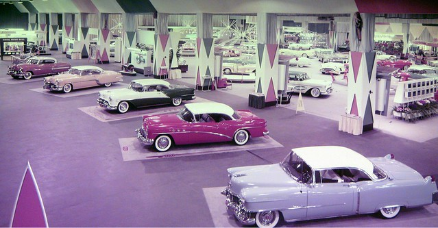 Tired of that Honda Accord or bland Toyota Camry? Come on down to the Waldorf Astoria Hotel and check out these brand new beauties from General Motors. Chevy, Pontiac, Buick, Oldsmobile, Cadillac. Cars with looks and personality! New York. 1954.