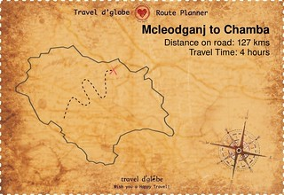 Map from Mcleodganj to Chamba