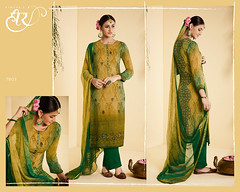2591 Heer 30 pure bemberg georgette heavy embroidery with digital print Salwar