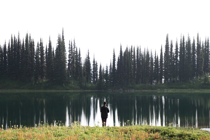 Vicki standing in front of Image Lake