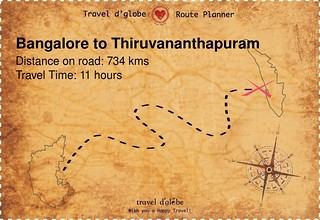Map from Bangalore to Thiruvananthapuram