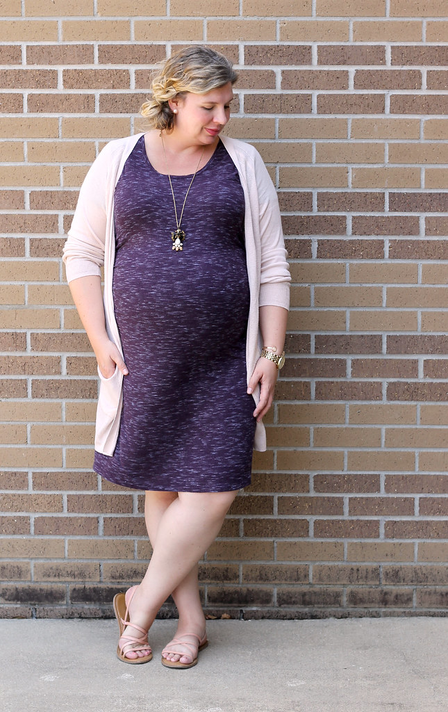 maternity purple dress, long blush cardigan 5