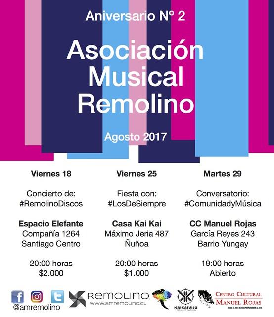 Asociación Musical Remolino celebra sus 2 años de vida con una batería de actividades en Santiago