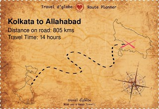 Map from Kolkata to Allahabad