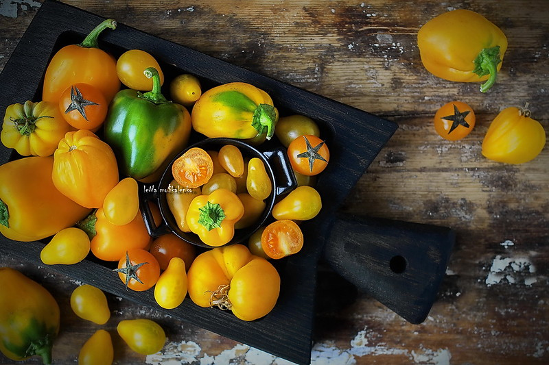 ...yellow vegetables - peppers, tomatoes and cherry