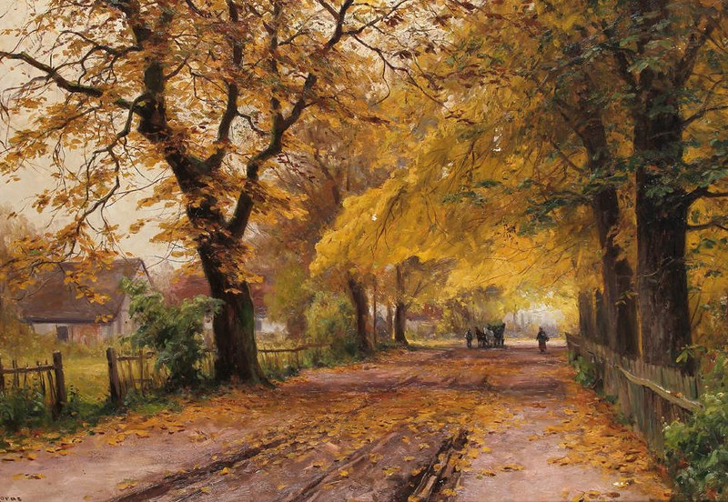 Alley in Autumn by Walter Moras (1856 - 1925)