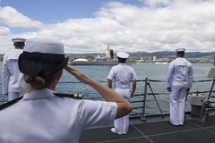 Sailors aboard USS Sterett (DDG 104) render honors as the ship passes the Battleship Missouri Memorial and the USS Arizona Memorial en route to Joint Base Pearl Harbor-Hickam, Hawaii, Aug. 18. (U.S. Navy/MC1 Byron C. Linder)