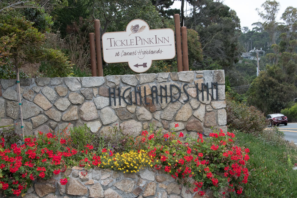 Signs from Highway 1 for Hyatt Carmel Highlands