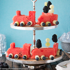 Watermelon Fruit Train with Honeydew and Blueberry wheels