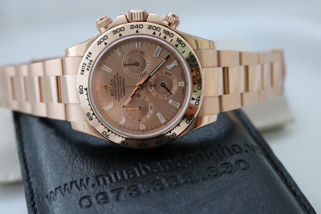 Đồng hồ rolex daytona 6 số 116505 – vàng hồng 18k – mặt số kim cương – size 40mm