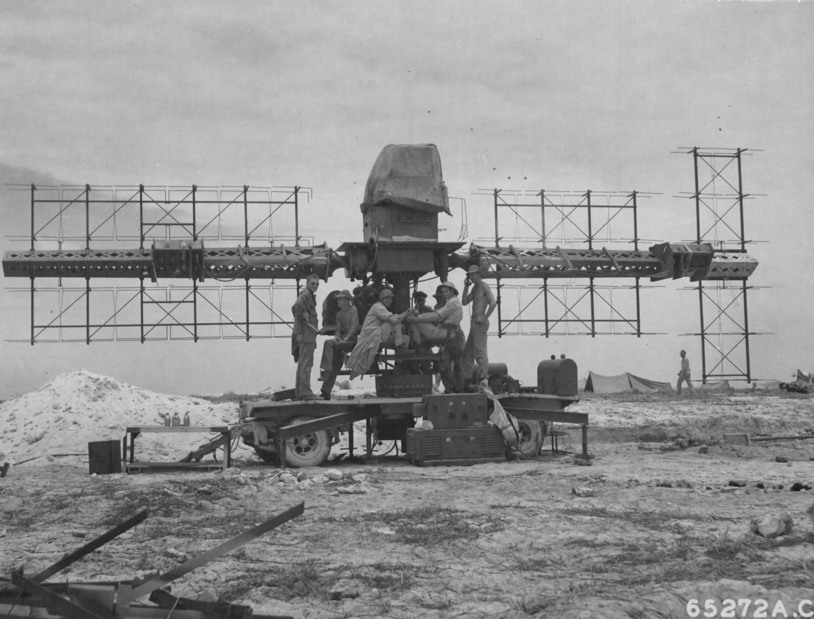 SCR-268 and crew, Baker Island