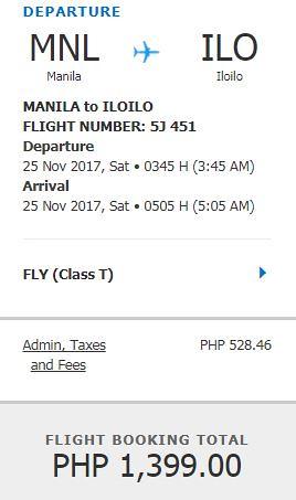 Manila to Iloilo Promo November 25, 2017