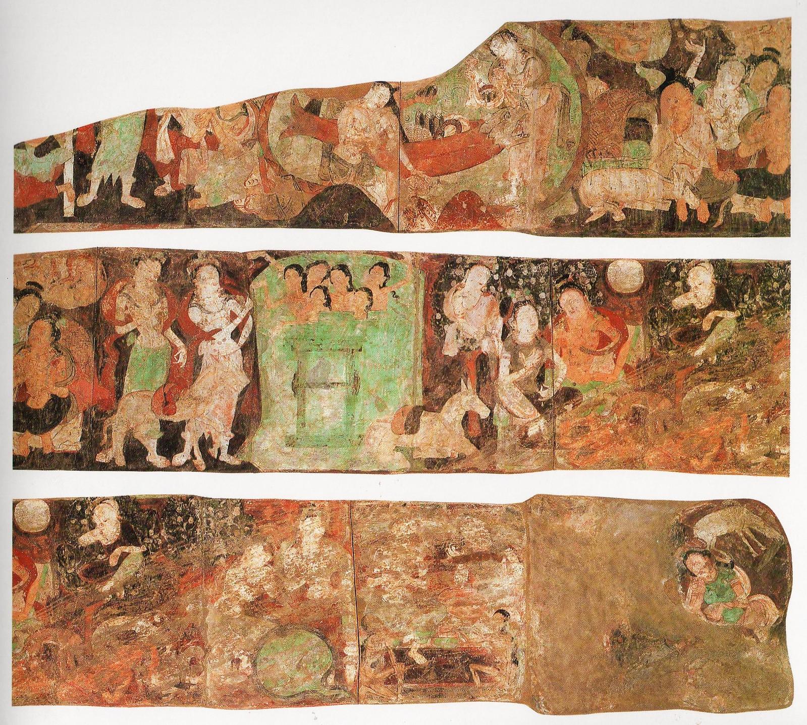 ドイツ隊が第212窟より剥ぎ取り持ち帰った壁画の一部 (新疆ウイグル自治区文物管理委員会ほか編『中国石窟 キジル石窟』第3巻・平凡社1985より転載)