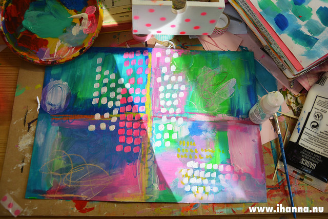 Sunshine and acrylic paint for Mixed Media Backgrounds on my messy desk (Photo and art by Hanna Andersson a.k.a. iHanna, Sweden) #mailart