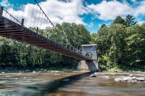 carrabassettvalley me usa kingfield bridge water wirebridge suspensionbridge newportland