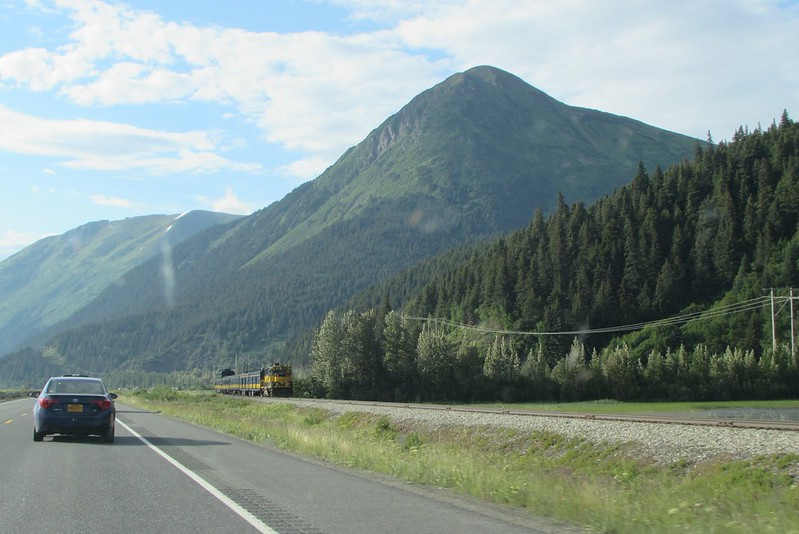 On the way back from Whittier to Palmer, after we crossed the tunnel and joined the Seward Highway, guess what we see once more? The train that had left about 15 minutes before we did.