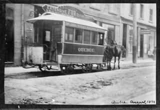 St. John Street Railway Co. Ltd. horse-drawn streetcar No. 5, Québec, Quebec / Tramway no 5 de la St. John Street Railway Company tiré par des chevaux, Québec (Québec)