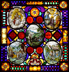 Adam forced to labour, with (clockwise from top left) Mother of God enthroned, Holy Family returning from Egypt, Angels of St John the Baptist, young St John the Baptist meets the young Christ